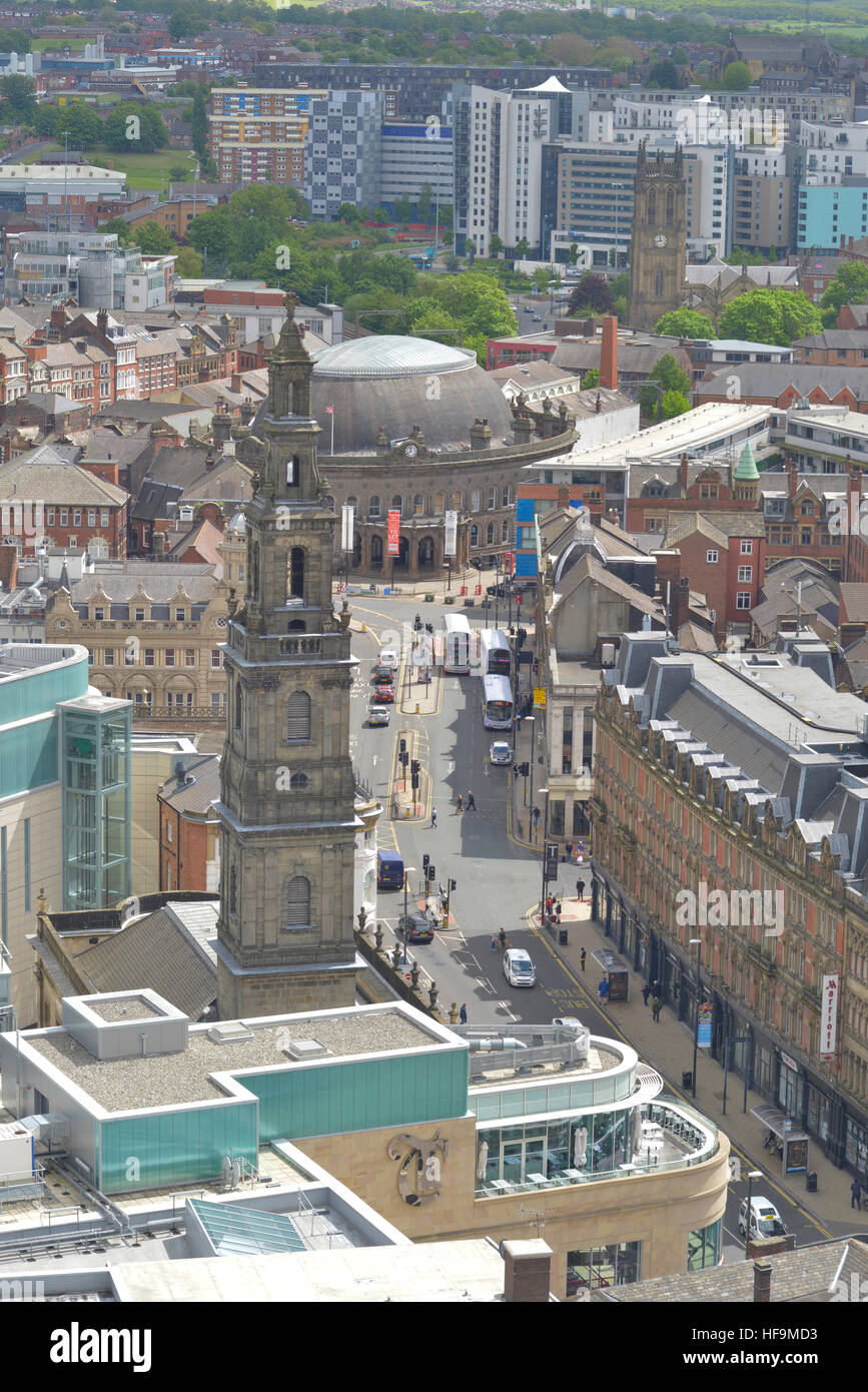 high angle view of leeds holy trinity church and the trinity centre and the corn exchange yorkshire united kingdom - Stock Image