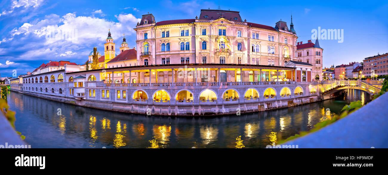 Ljubljana riverfront panorama evening view, capital of Slovenia Stock Photo