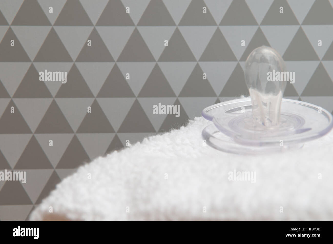 Parenting For Newborn Baby Background Of Dummy On A White Towel Stock Photo Alamy