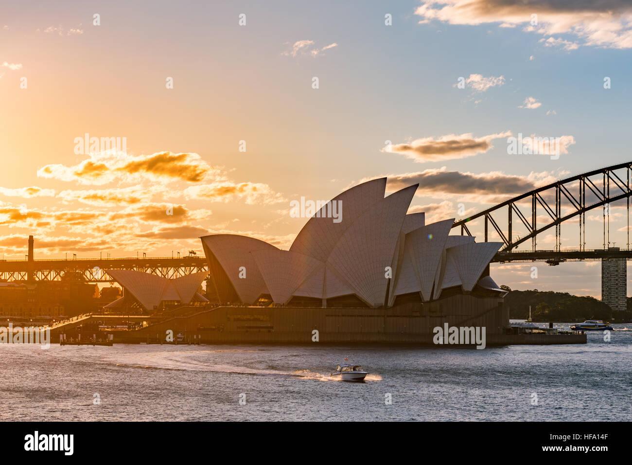 Sydney, city skyline at sunset, Australia - Stock Image