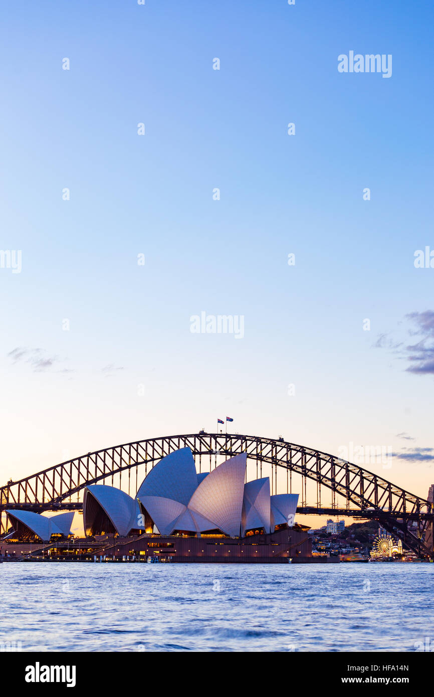 Sydney, city skyline at sunset, Australia - Stock Image