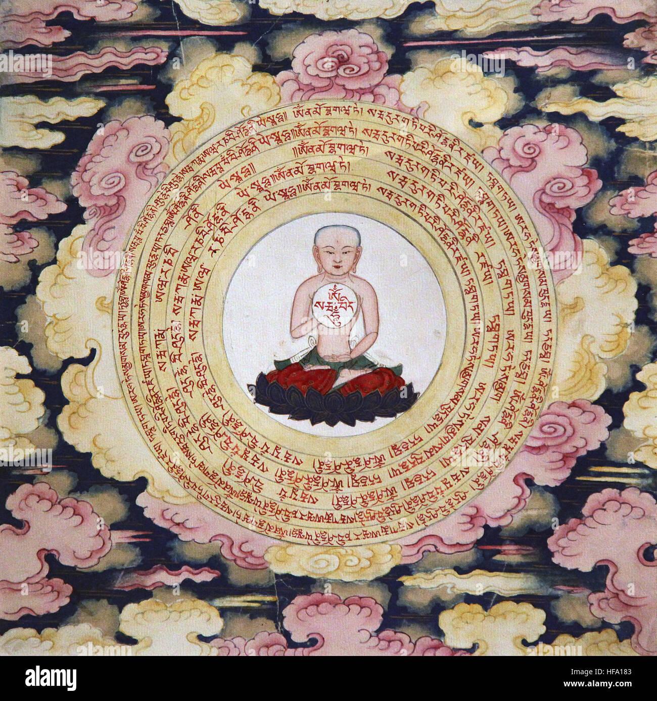 Buddhist tibetan vajrayana meditation painting 18th century buddha and mind yoga mindfulness  Purification - Stock Image