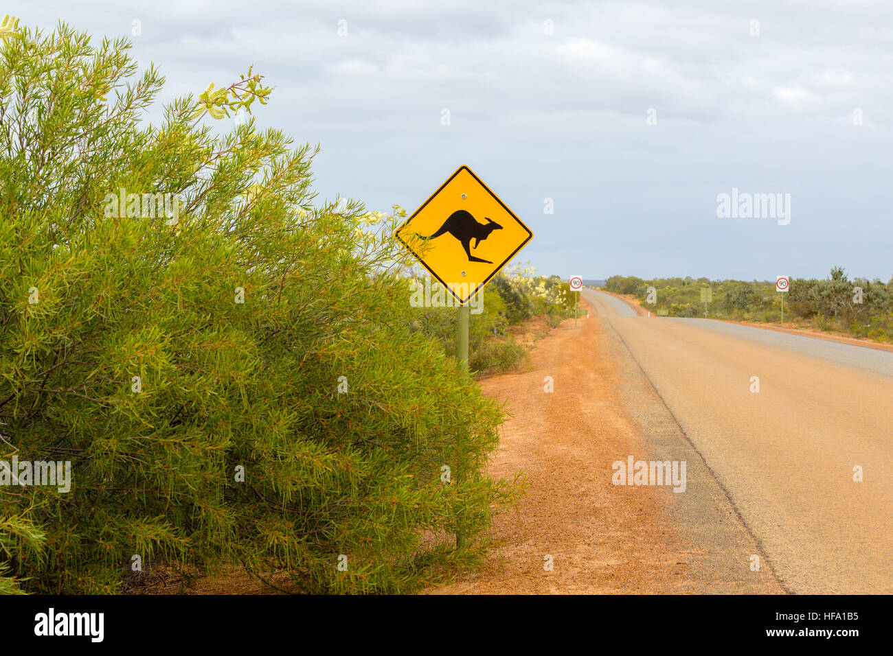 Kangaroo sign, unpaved road, Western Australia Stock Photo