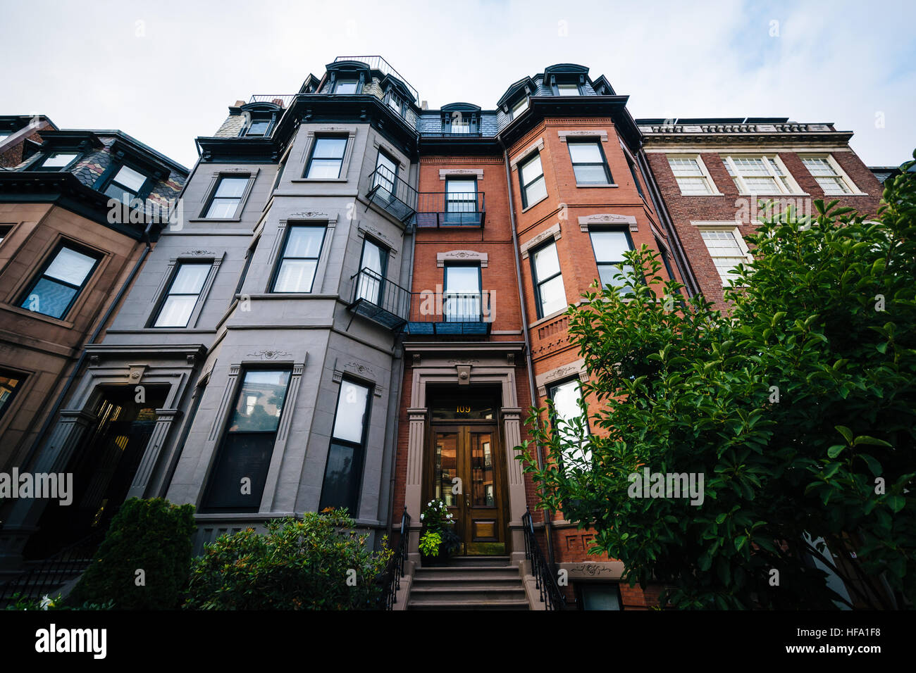 Historic brick buildings in Back Bay, Boston, Massachusetts. Stock Photo