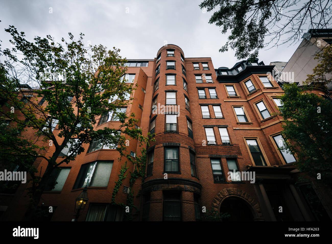 Historic brick buildings in Beacon Hill, Boston, Massachusetts. Stock Photo