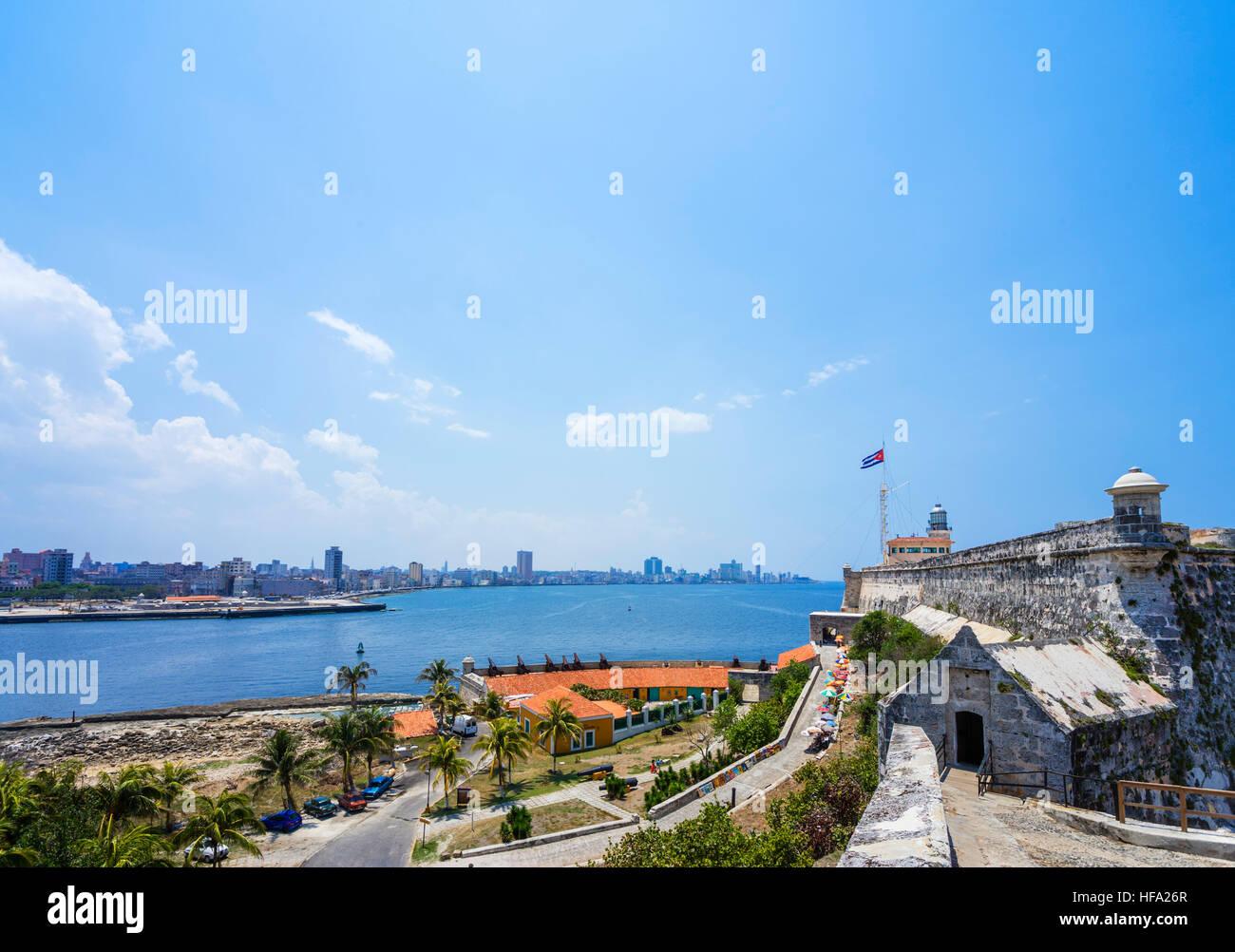 Malecon, Havana. View of the City and Malecon from Castillo de los Tres Reyes Magos del Morro, Habana del Este, - Stock Image