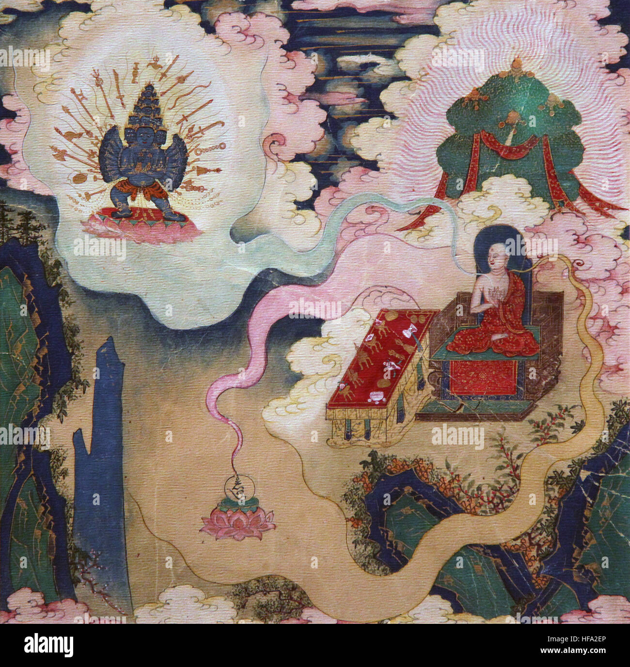 Buddhist tibetan vajrayana meditation painting 18th century buddha and mind yoga mindfulness Transformation - Stock Image