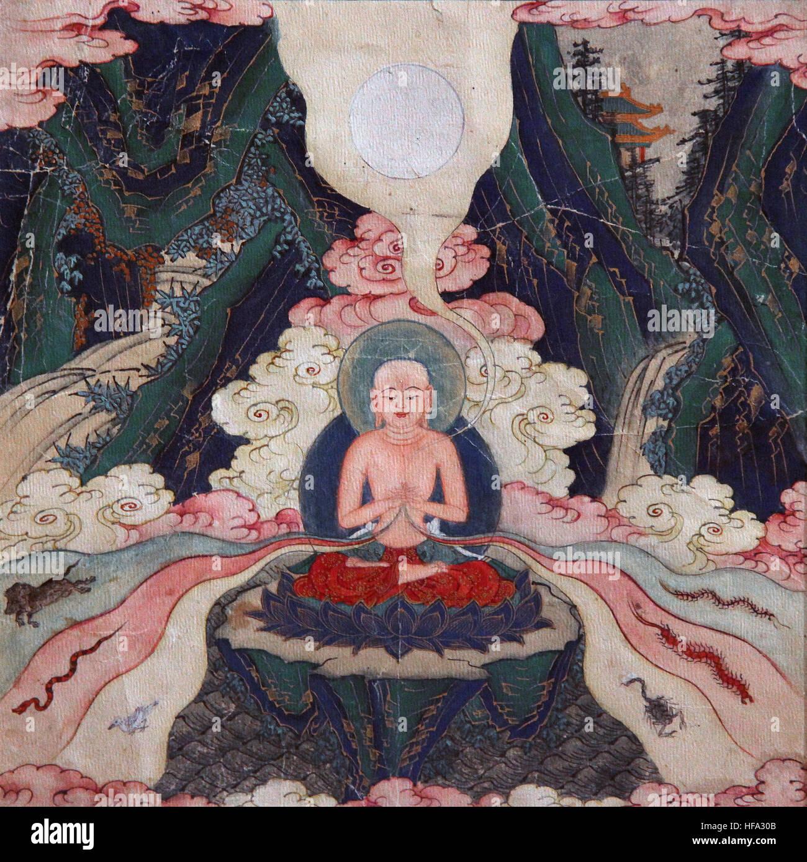 Buddhist tibetan vajrayana meditation painting 18th century buddha and mind yoga mindfulness Vices Stock Photo