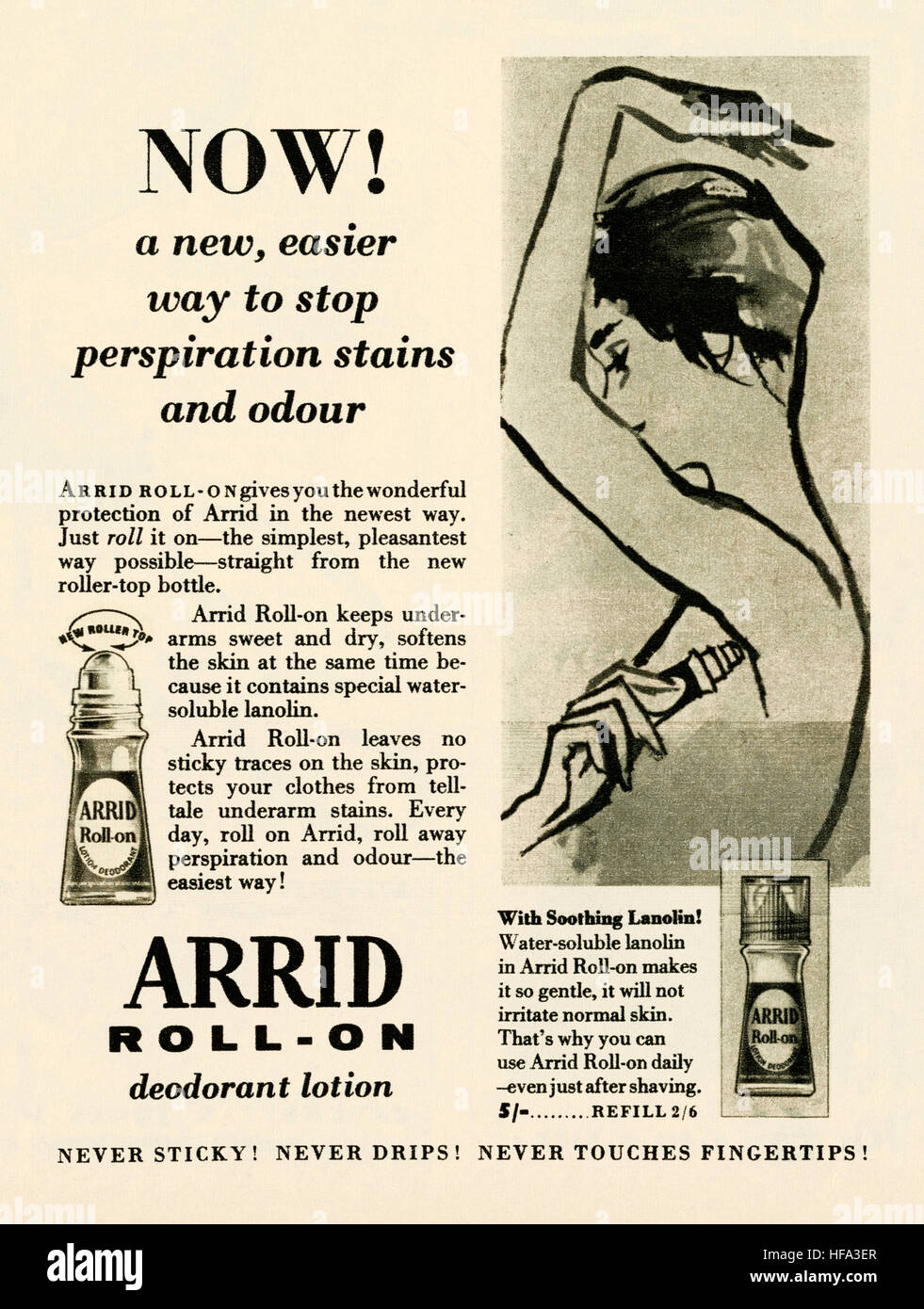 A 1959 advert for Arrid roll-on anti-perspiration deodorant. The advert appeared in a magazine published in the - Stock Image