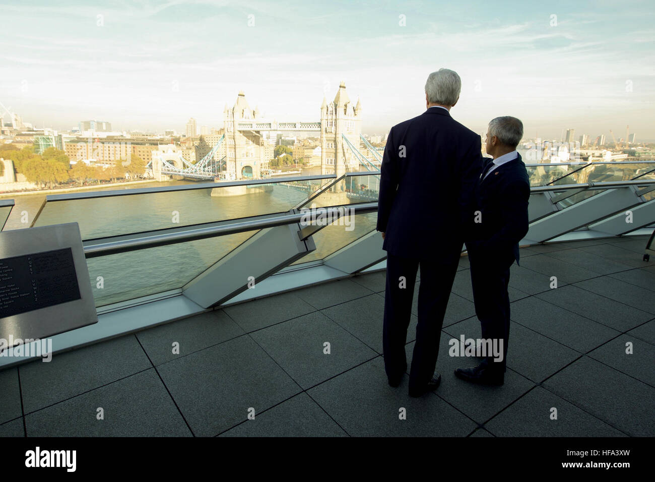 London Mayor Sadiq Khan shows U.S. Secretary of State John Kerry the view from his office before they met and held - Stock Image