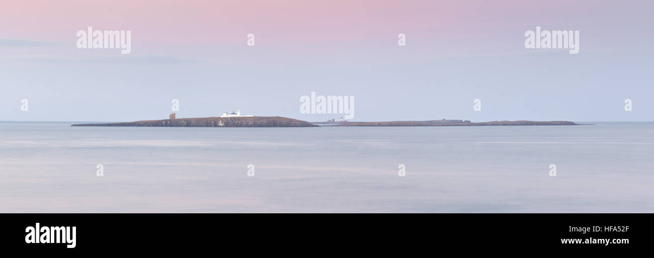 Farne Islands at sunset off the Northumberland coast in the winter time with dusky pink and blue pastel colours, Stock Photo