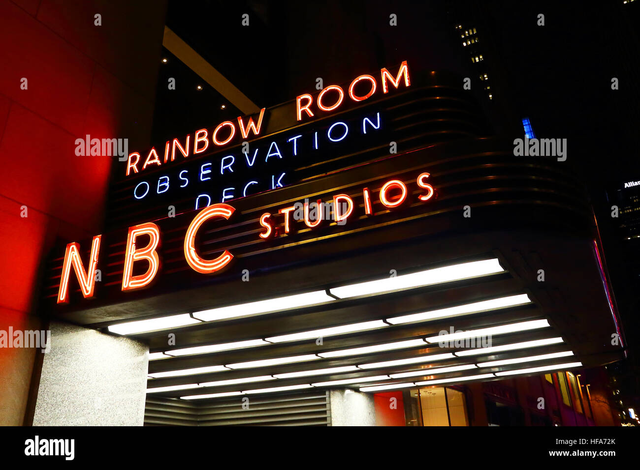The marquee outside of the NBC studios on 50th street in Manhattan. - Stock Image