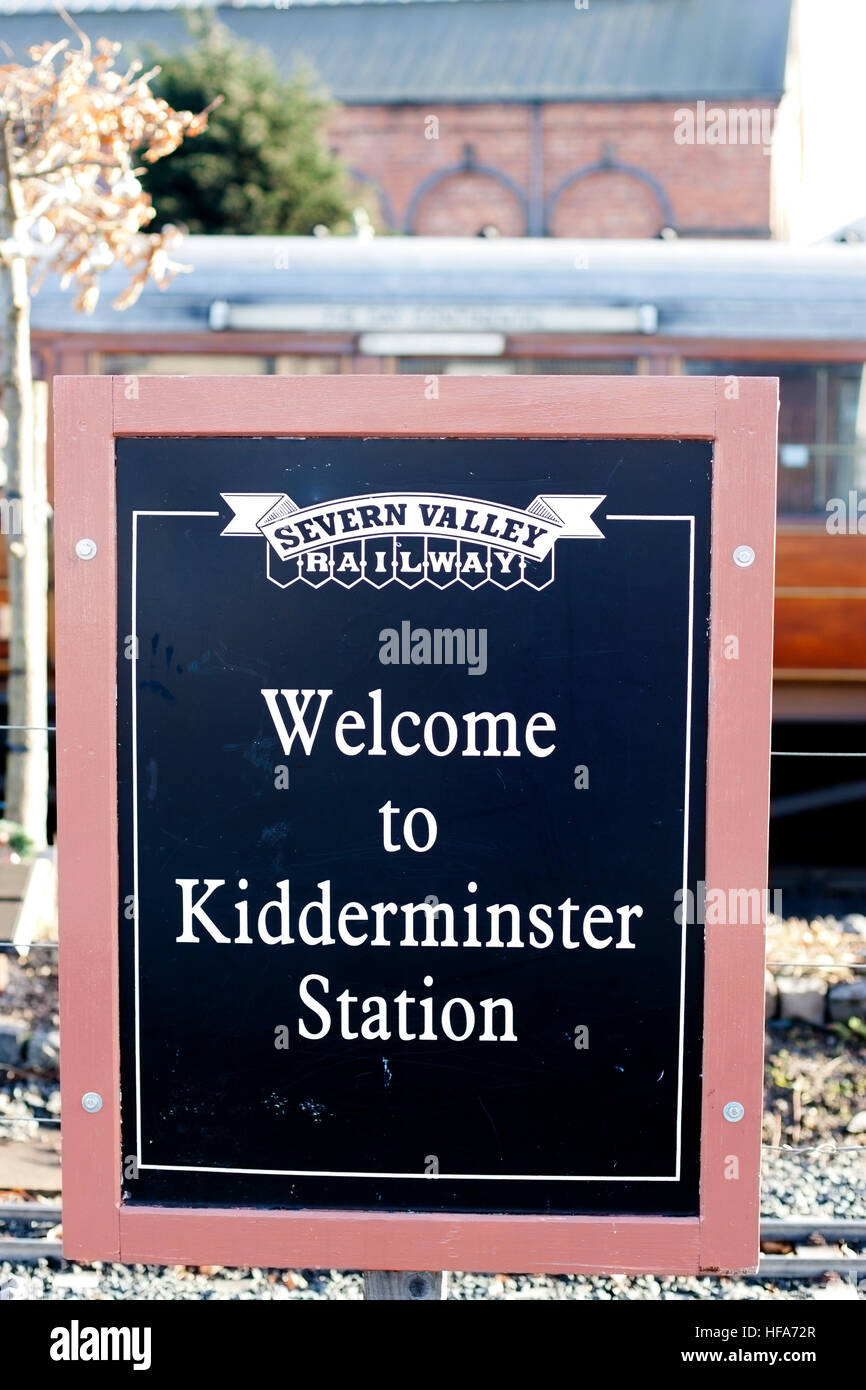 Severn Valley Railway sign at Kidderminster Station stating 'Welcome to Kidderminster Station', Kidderminster, - Stock Image
