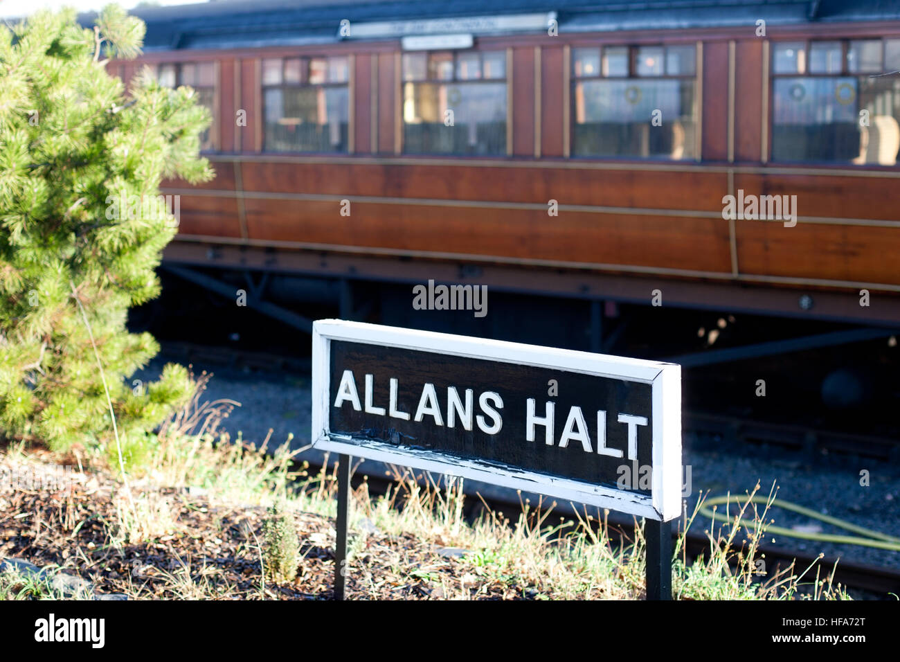 Severn Valley Railway Allans Halt sign at Kidderminster Station, Kidderminster, Worcestershire - Stock Image