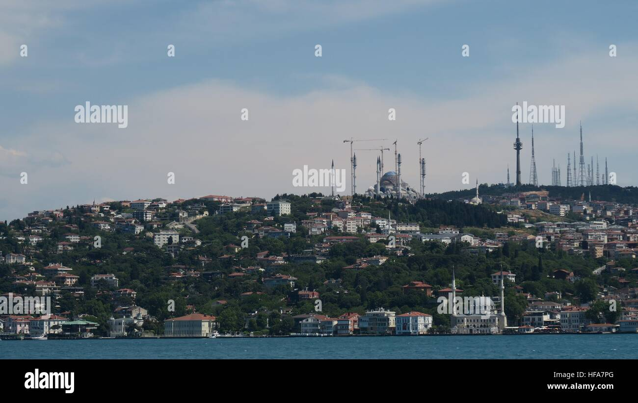 View from the Europen Side of the Bosphorus to Asia - Stock Image