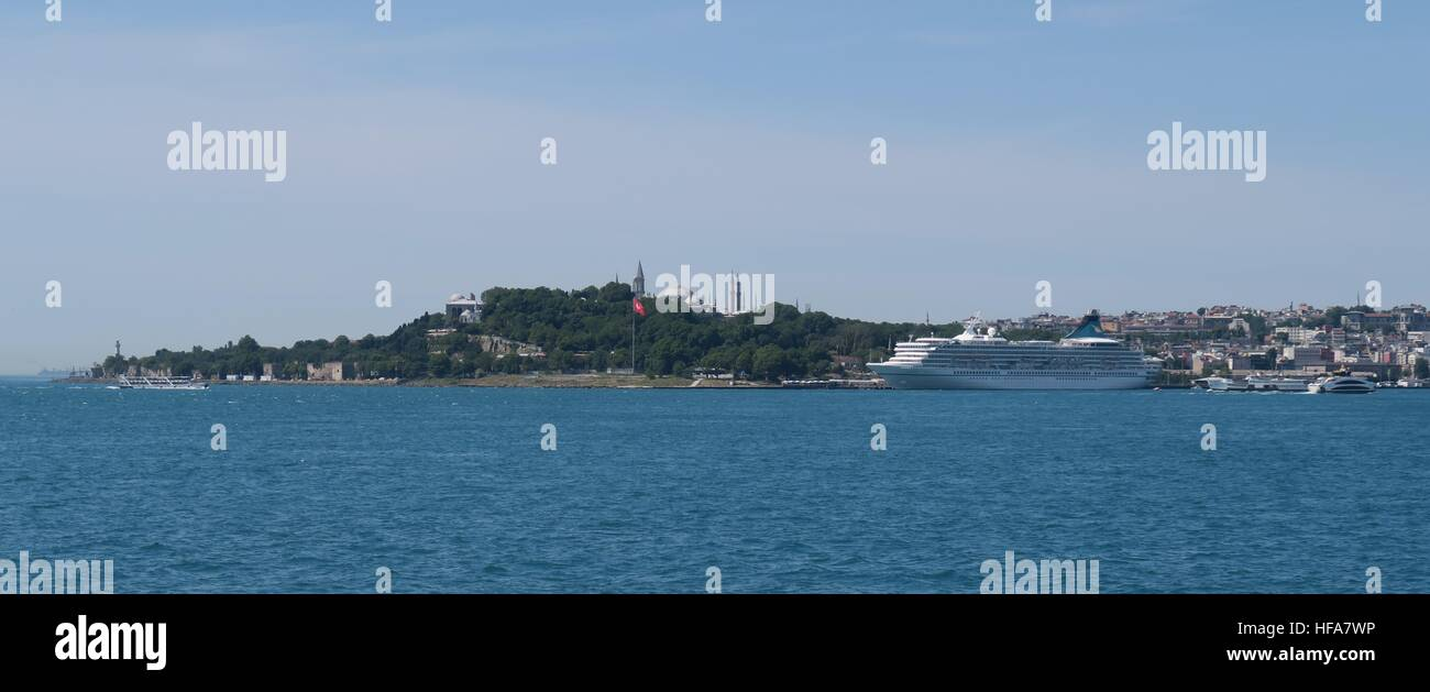 View at Istanbuls Oldtown Sultanahmet, the Bosphorus and Ships - Stock Image