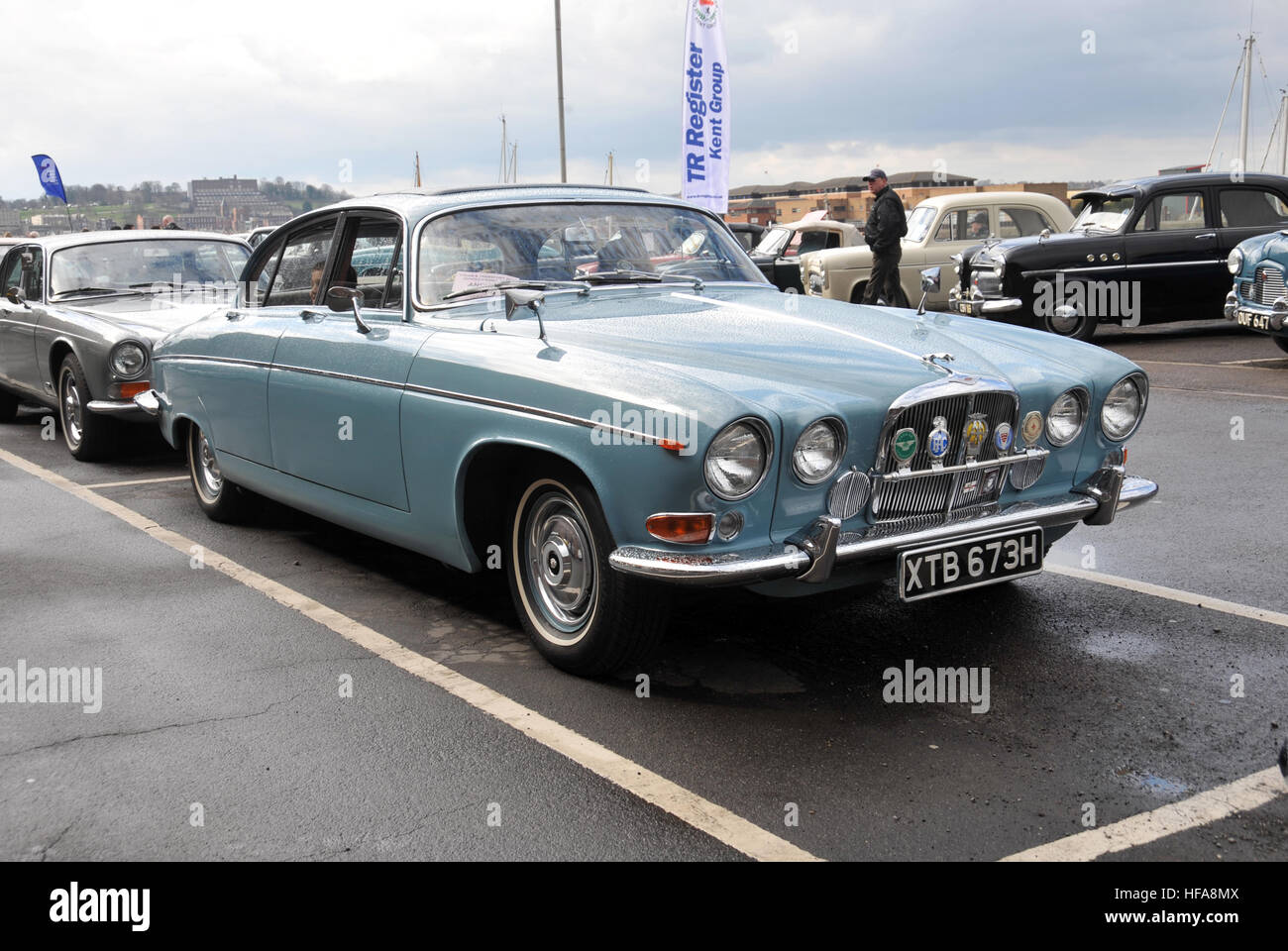 Jaguar MkX or Mk10. Classic vehicles at Chatham Historic Dockyard Festival of Steam and Transport classic car show - Stock Image