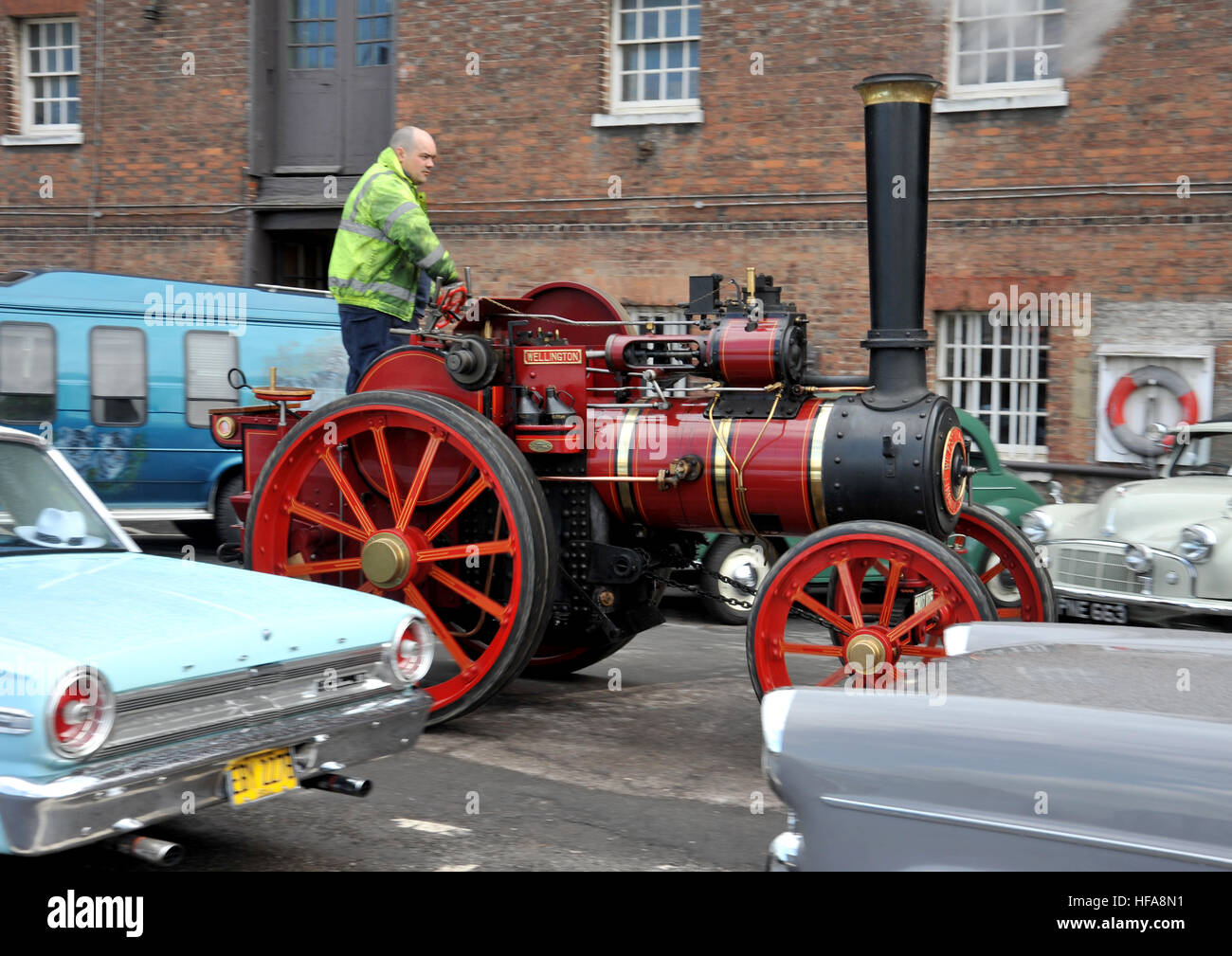 Classic vehicles at Chatham Historic Dockyard Festival of Steam and Transport classic car show - Stock Image
