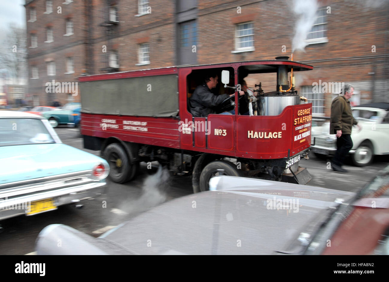 Steam lorry. Classic vehicles at Chatham Historic Dockyard Festival of Steam and Transport classic car show - Stock Image