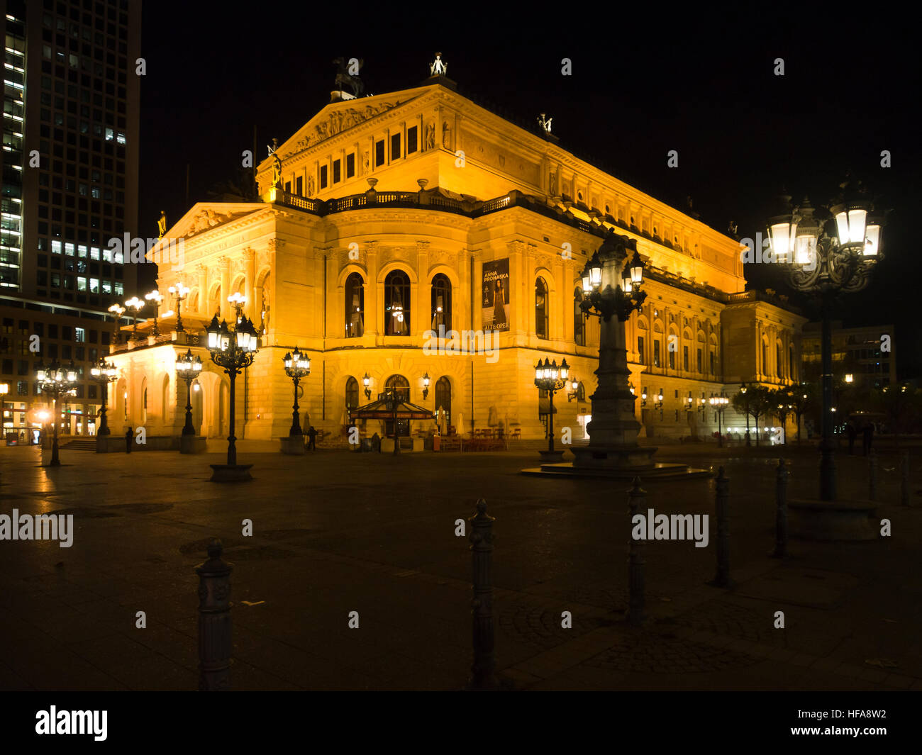 Alte Oper in Frankfurt am Main Hesse Germany, elaborate light setting enhances the elegant building, now used for - Stock Image