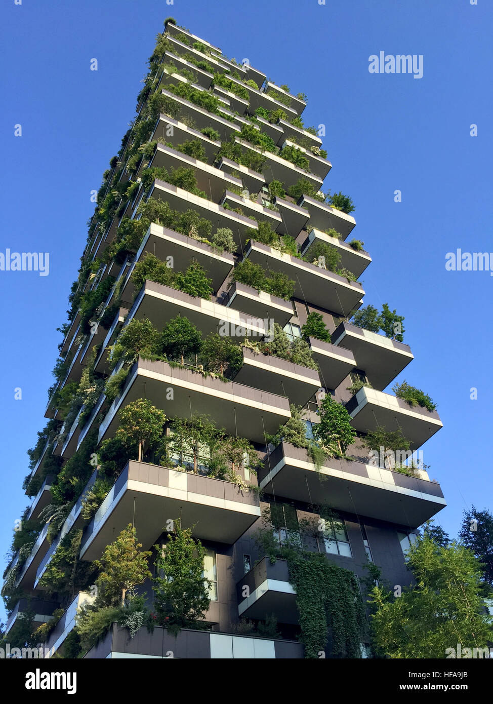 Vertical Forest, Milan, Porta Nuova skyscraper residences, Italy, April 15, 2016. View of the balconies and terraces Stock Photo