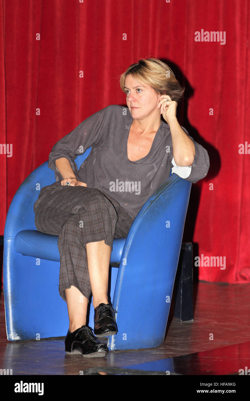 Italian Health Minister Beatrice Lorenzin in Astoria Palace Hotel in Palermo, Sicily, to explain the reasons to Stock Photo