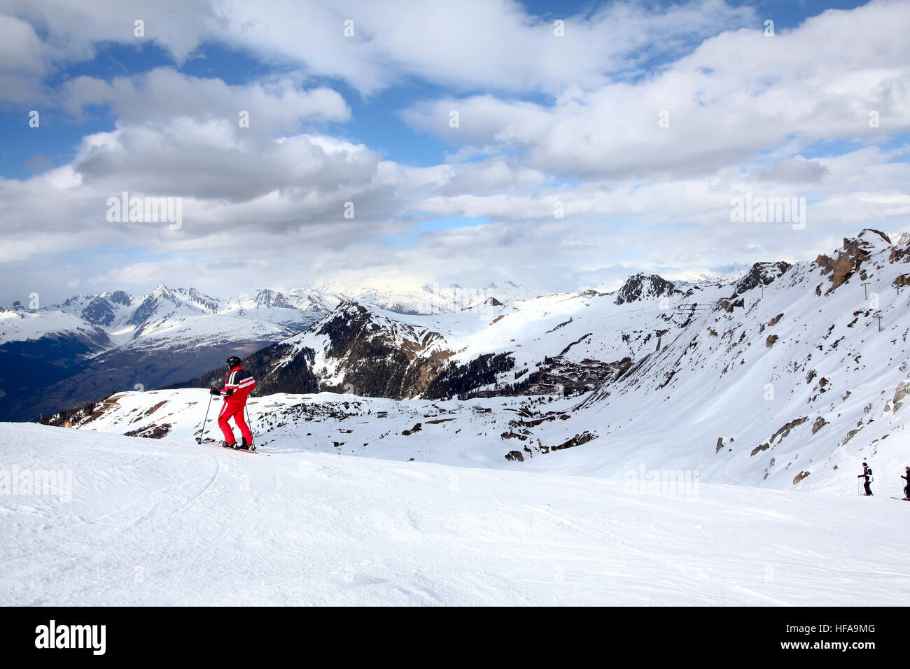 Les Arcs is a ski resort located in Savoie, France, in the Tarentaise Valley town of Bourg-Saint-Maurice. - Stock Image