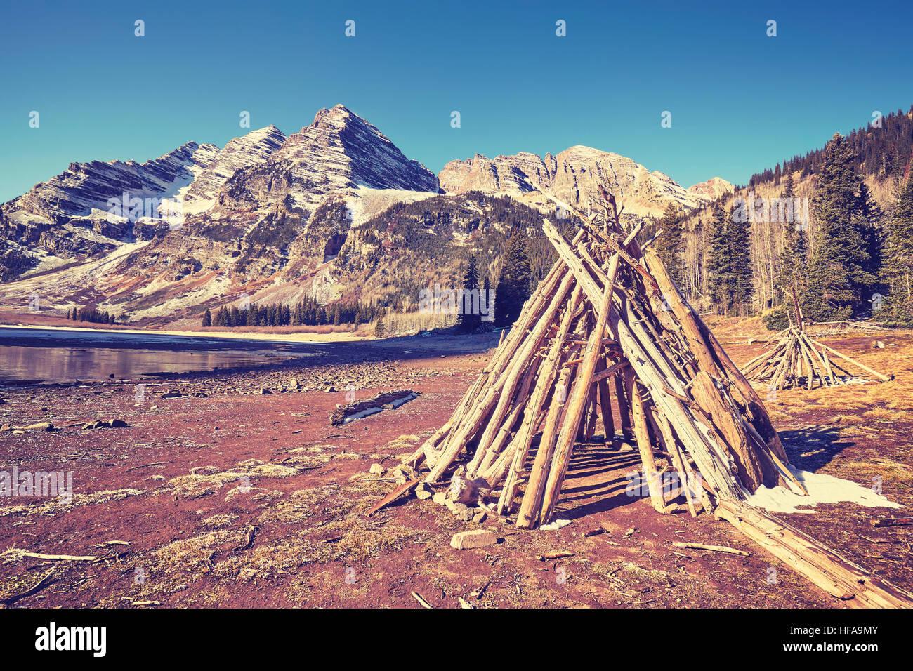 Vintage toned campsite at Maroon Bells, Aspen in Colorado, USA. - Stock Image