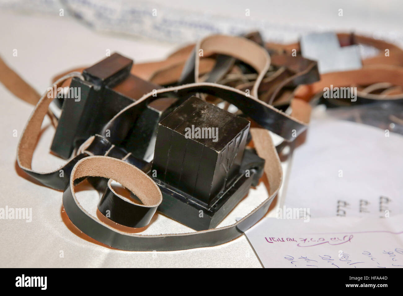 Bar Mitzvah ceremony A young boy of 13 laying Tefillin. Close up of the hands and arms - Stock Image