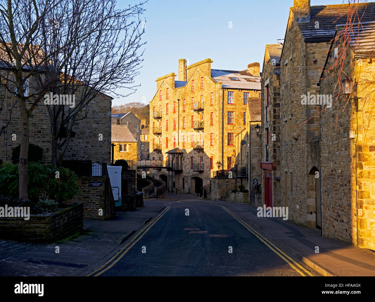 Mills turned into apartments, in Skipton, North Yorkshire, England UK - Stock Image