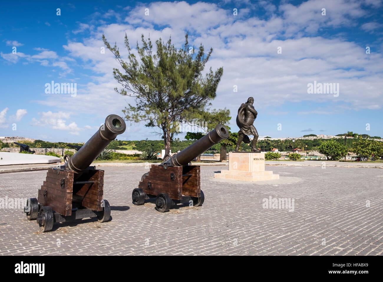 Cannons at the castillo de San salvador de la Punta, La Havana, Cuba. - Stock Image