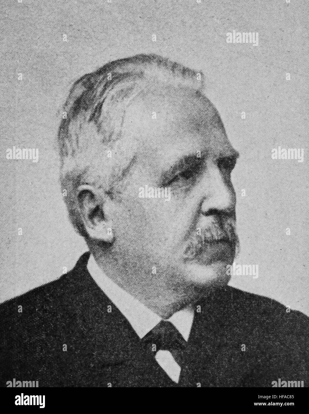Albert Eberhard Friedrich Schaeffle, 1831-1903, a German sociologist, political economist, and newspaper editor, - Stock Image
