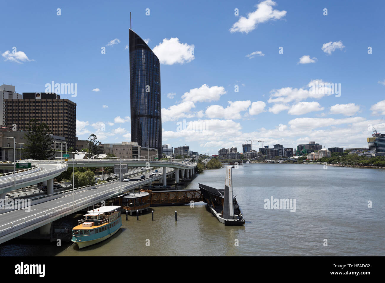 Panoramic view of the modern city of Brisbane, Australia - Stock Image