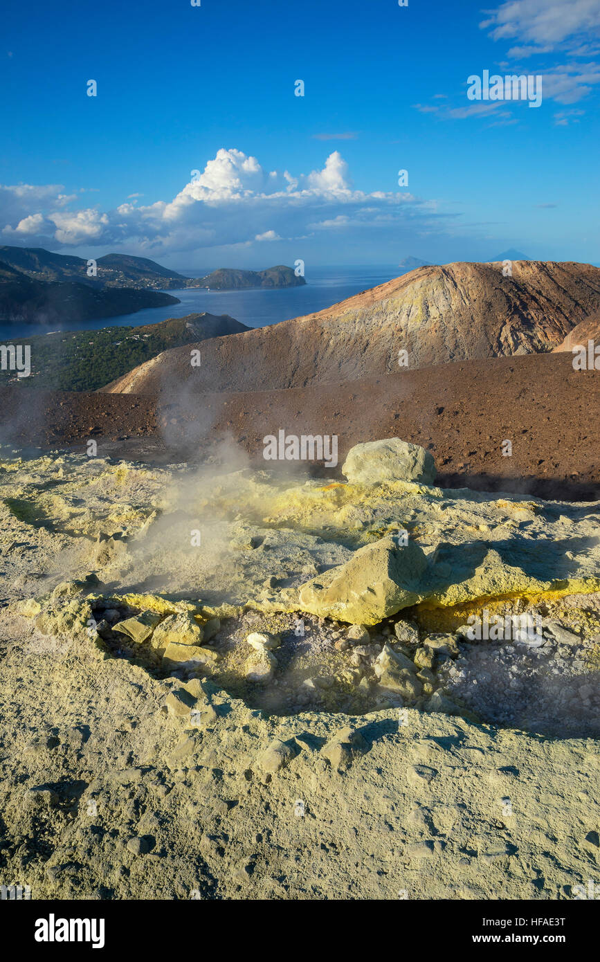 Gran Crater, Vulcano Island, Aeolian Islands, UNESCO World Heritage Site, Sicily, Italy, - Stock Image