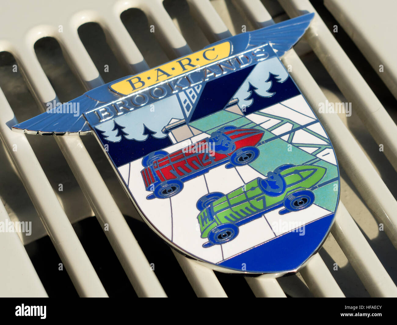 B.A.R.C. Brooklands automobile badge. - Stock Image