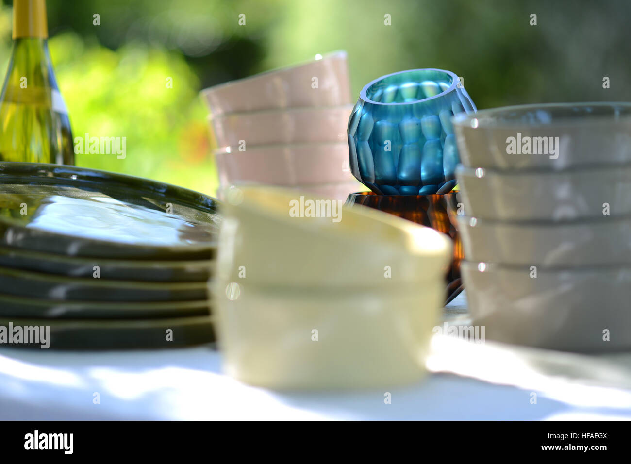 Alfresco dining, table set for an evening meal outside - Stock Image