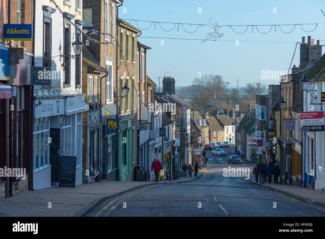 View down Fore Hill in city of Ely, Cambridgeshire, England. - Stock Image