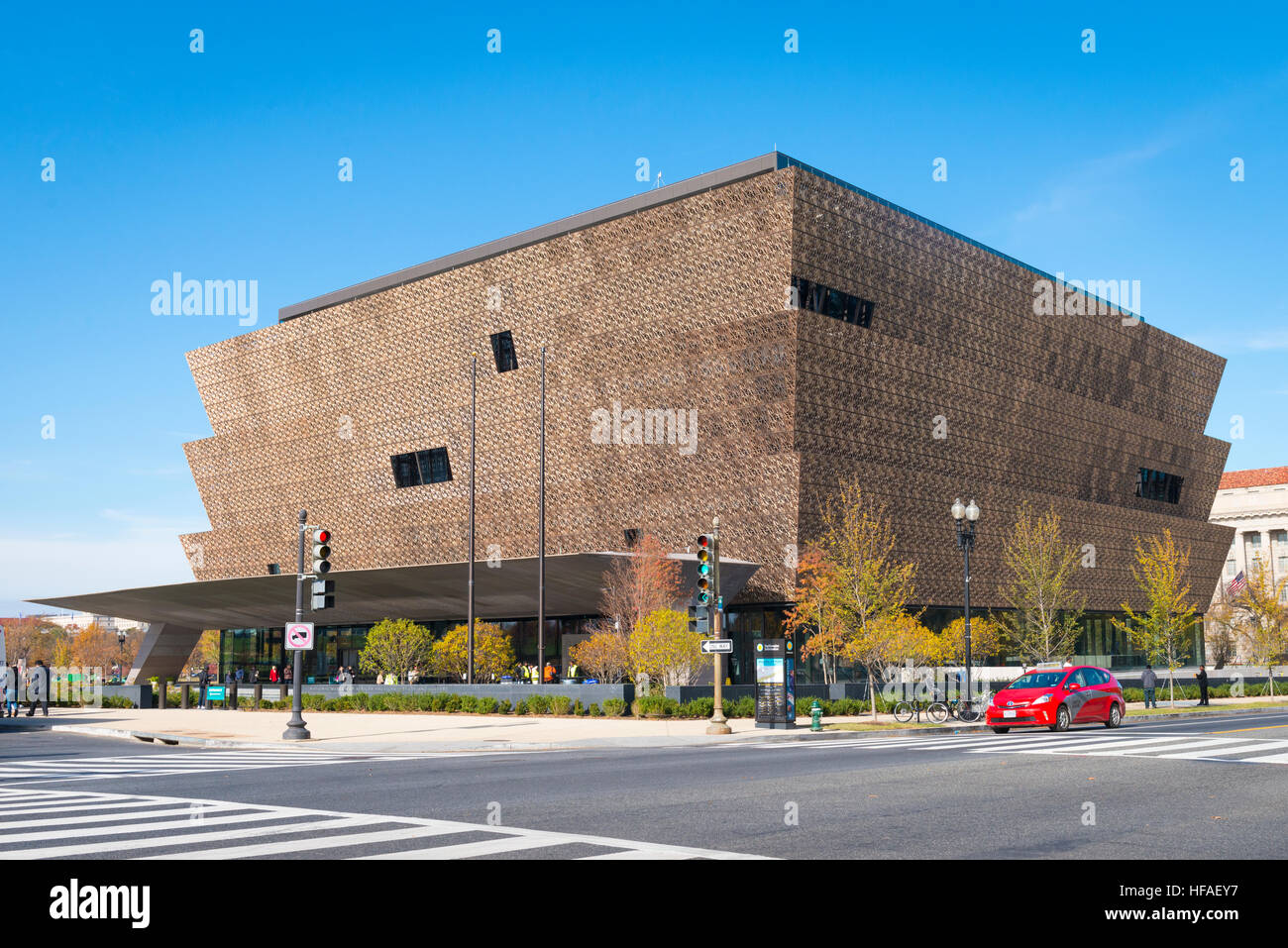 USA capital Washington DC entrance District Columbia National Museum of African American History & Culture facade - Stock Image