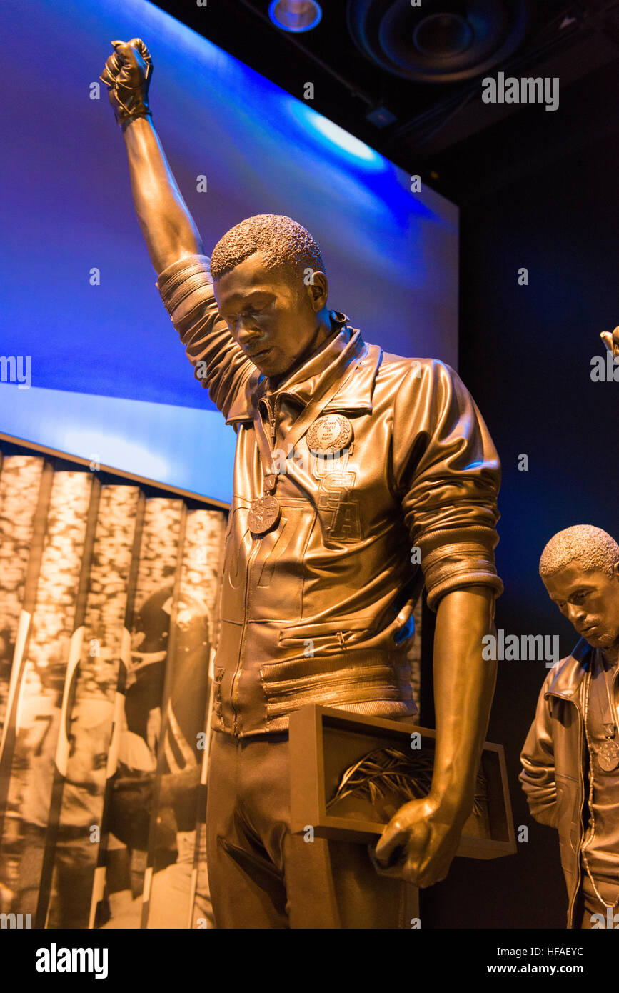 USA capital Washington DC District Columbia National Museum of African American History Culture statues Tommie Smith - Stock Image