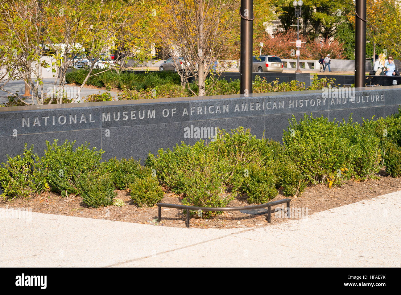 USA capital Washington DC District of Columbia entrance sign National Museum of African American History & Culture - Stock Image