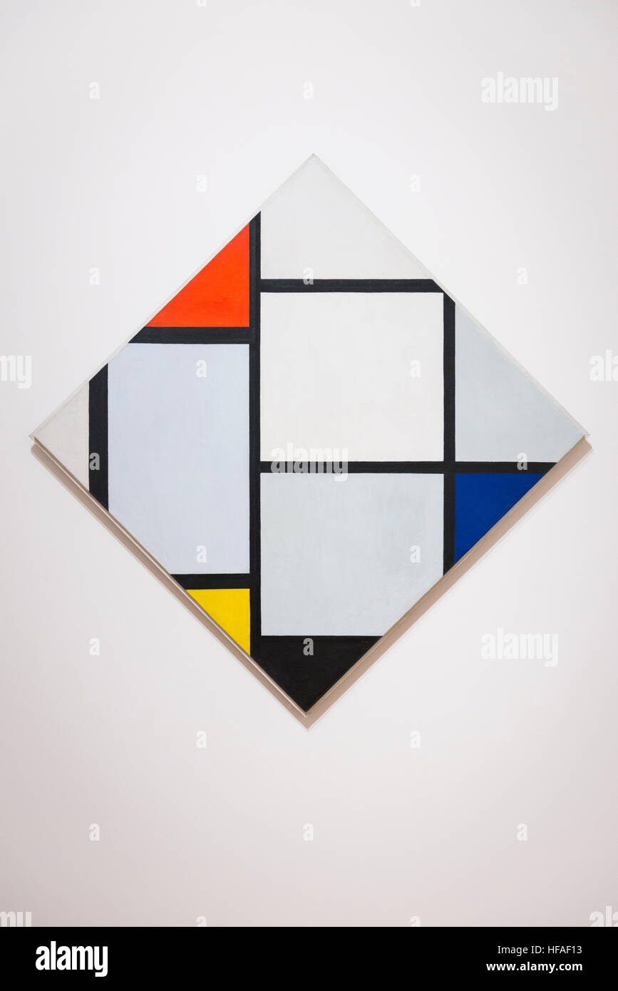 USA capital Washington DC District Columbia National Gallery of Art Piet Mondrian Tableau No IV Lozenge Composition - Stock Image
