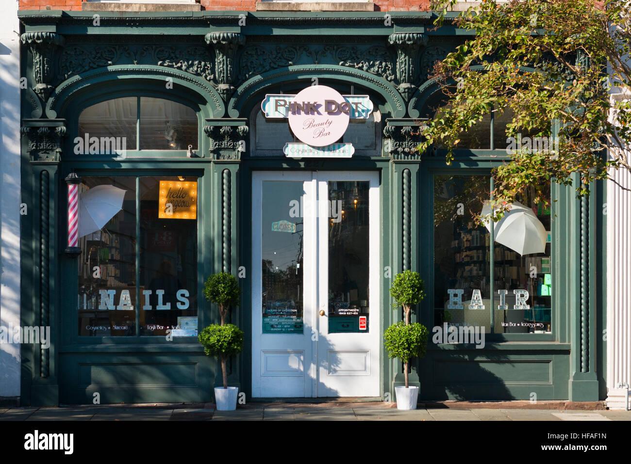 USA South Carolina Charleston Pink Dot Beauty Bar parlor