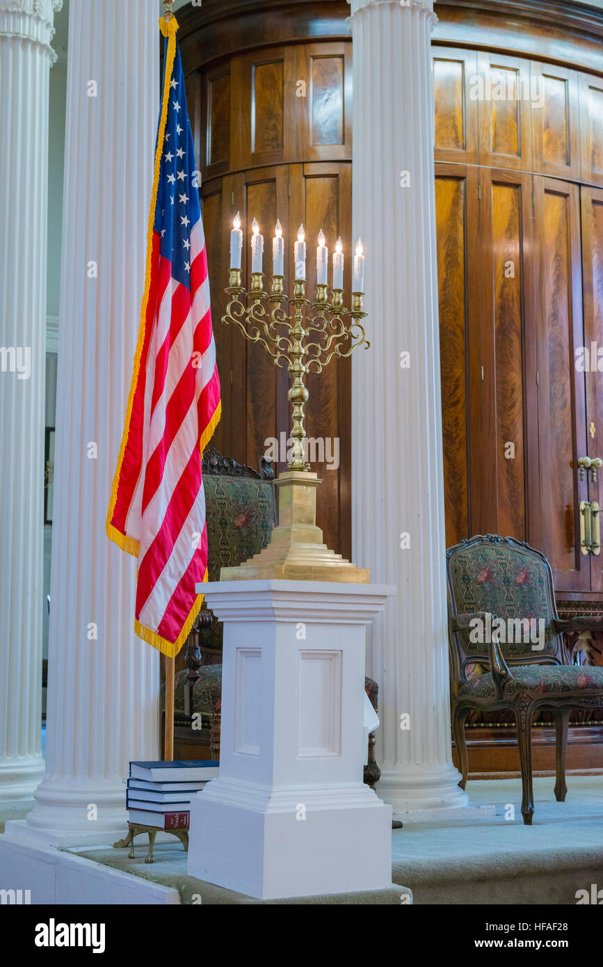 South Carolina Charleston Kahal Kadosh Beth Elohim built 1750 est 1695 cradle Reform Judaism 1824 Bimah Stars & - Stock Image