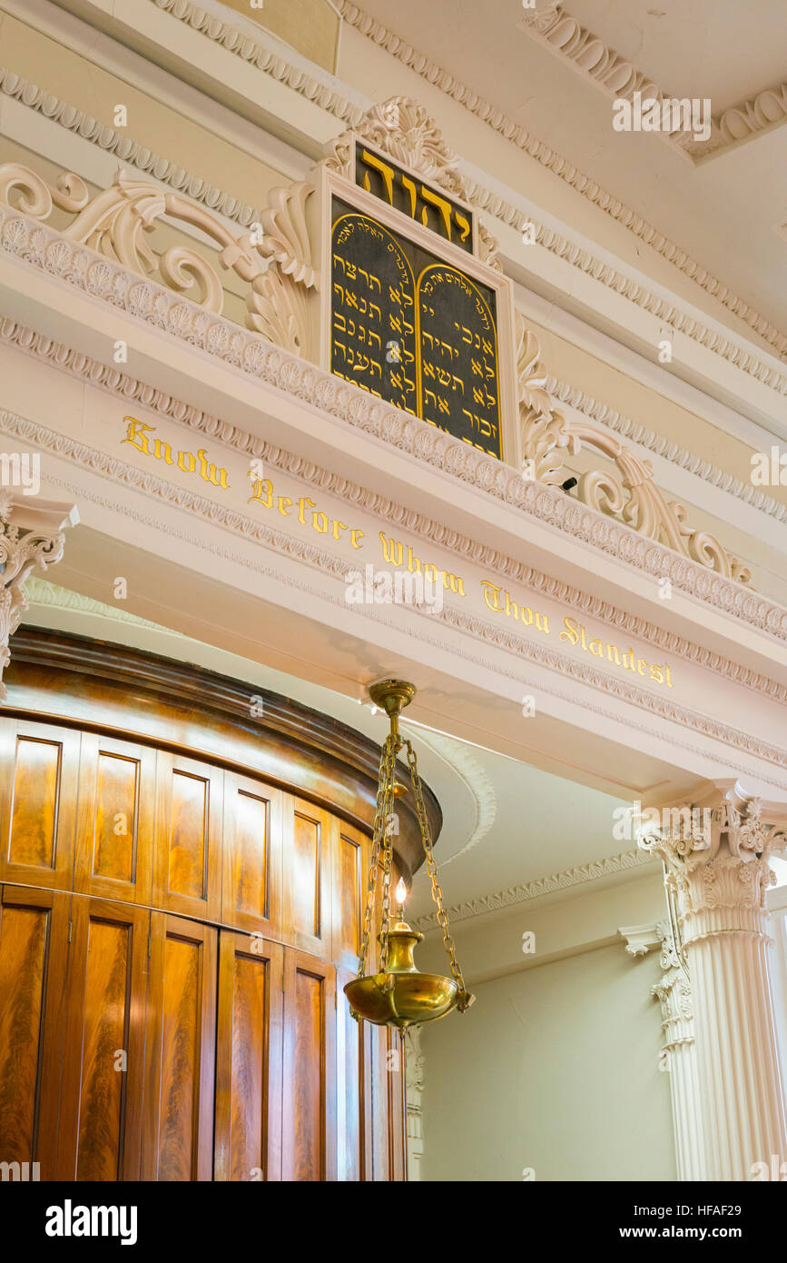 South Carolina Charleston Kahal Kadosh Beth Elohim built 1750 est 1695 cradle Reform Judaism 1824 Bimah eternal - Stock Image