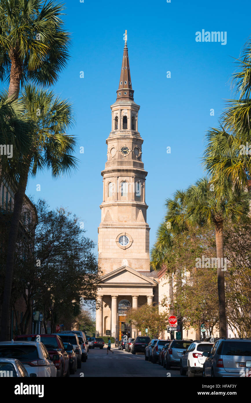 USA South Carolina Charleston Church Street St Philip's Episcopal Church built 1836 steeple tower also served - Stock Image