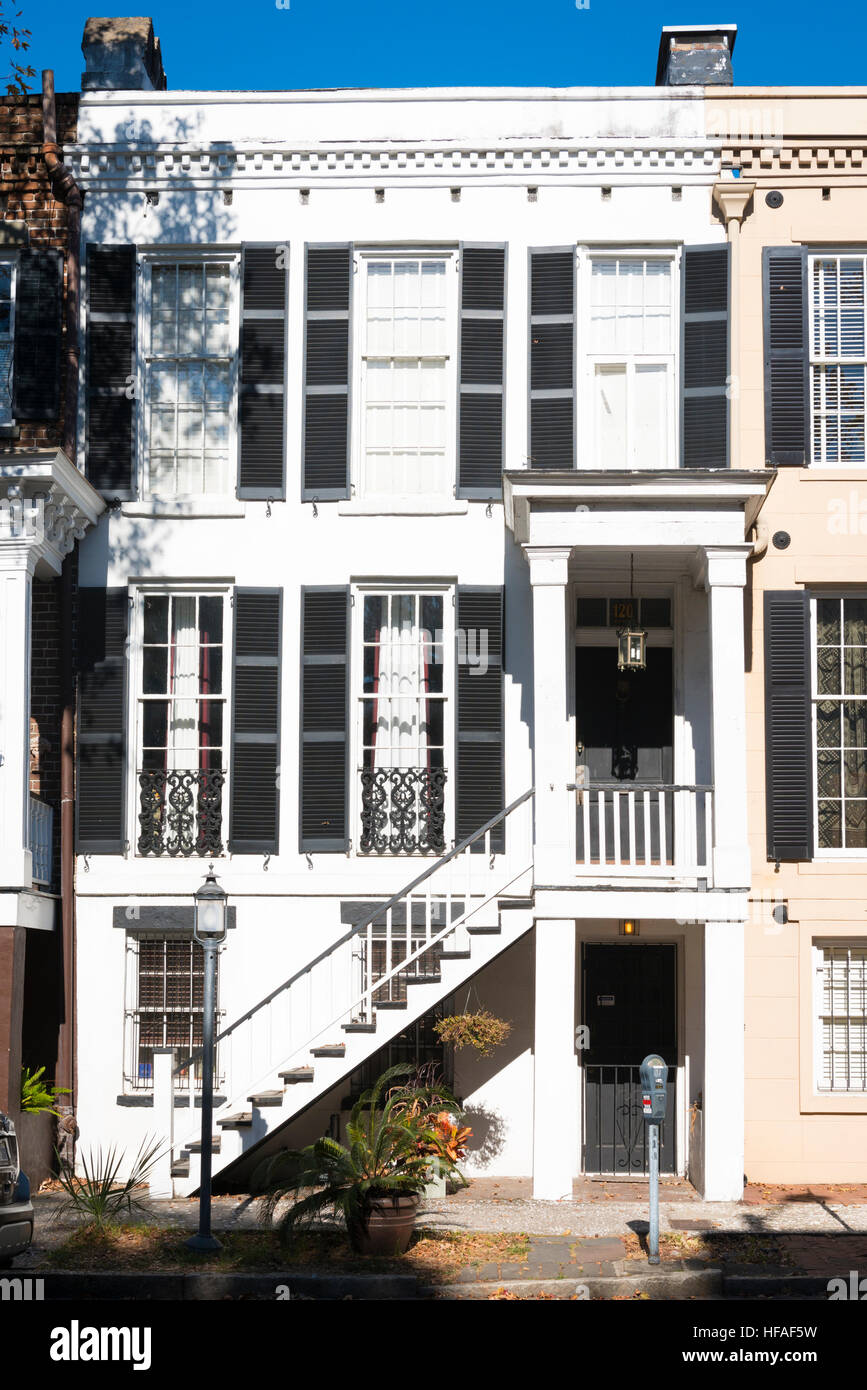 Usa Georgia Savannah Typical Colonial Style House Stairs To First