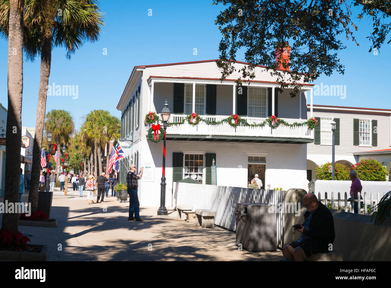 USA Florida St Augustine colonial style Pena Peck House woman's exchange gift shop - historical museum Xmas - Stock Image