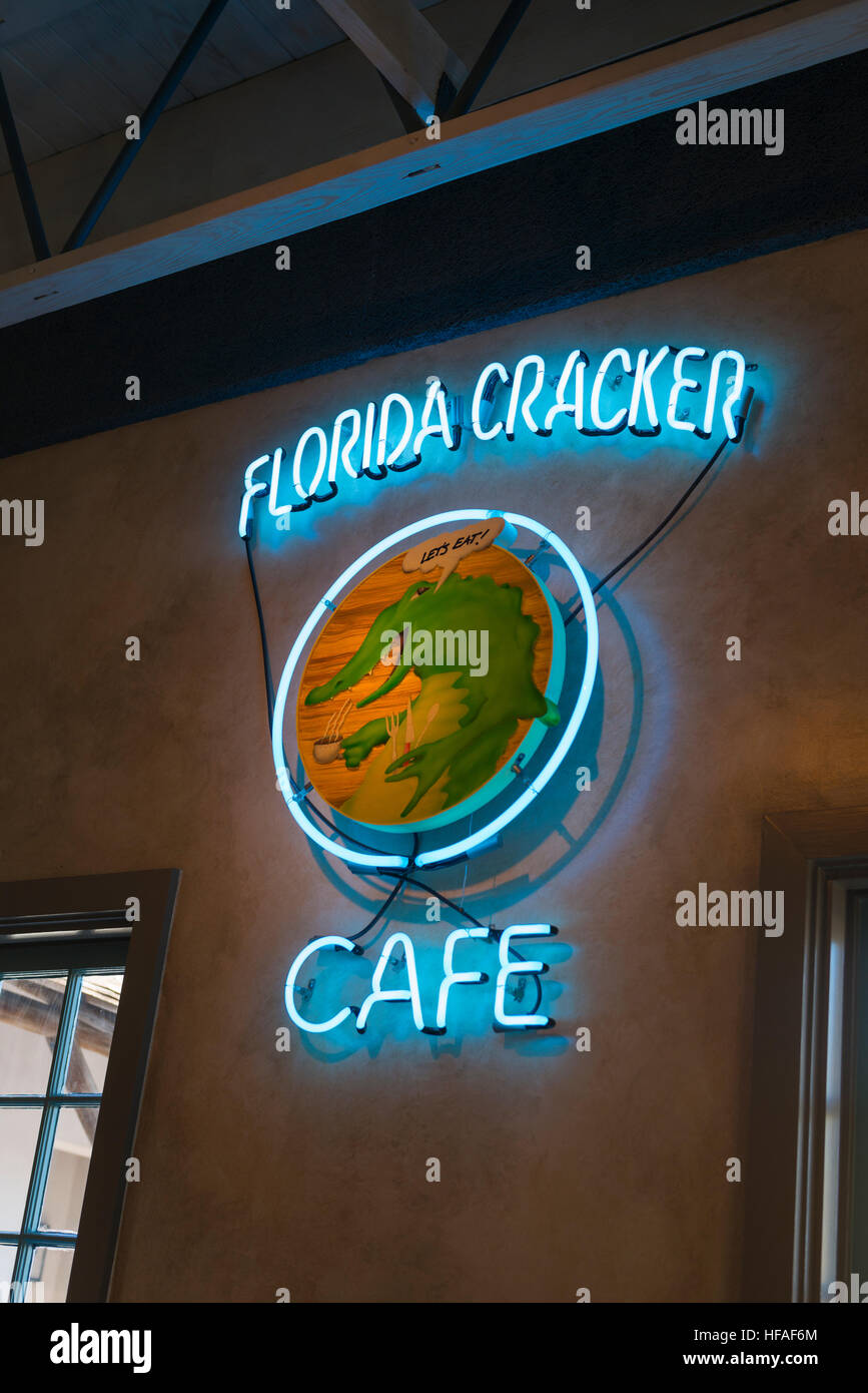 USA Florida St Augustine Florida Cracker Cafe restaurant Clam Chowder Gator Tail Conch Fritters Crab Balls Fried - Stock Image