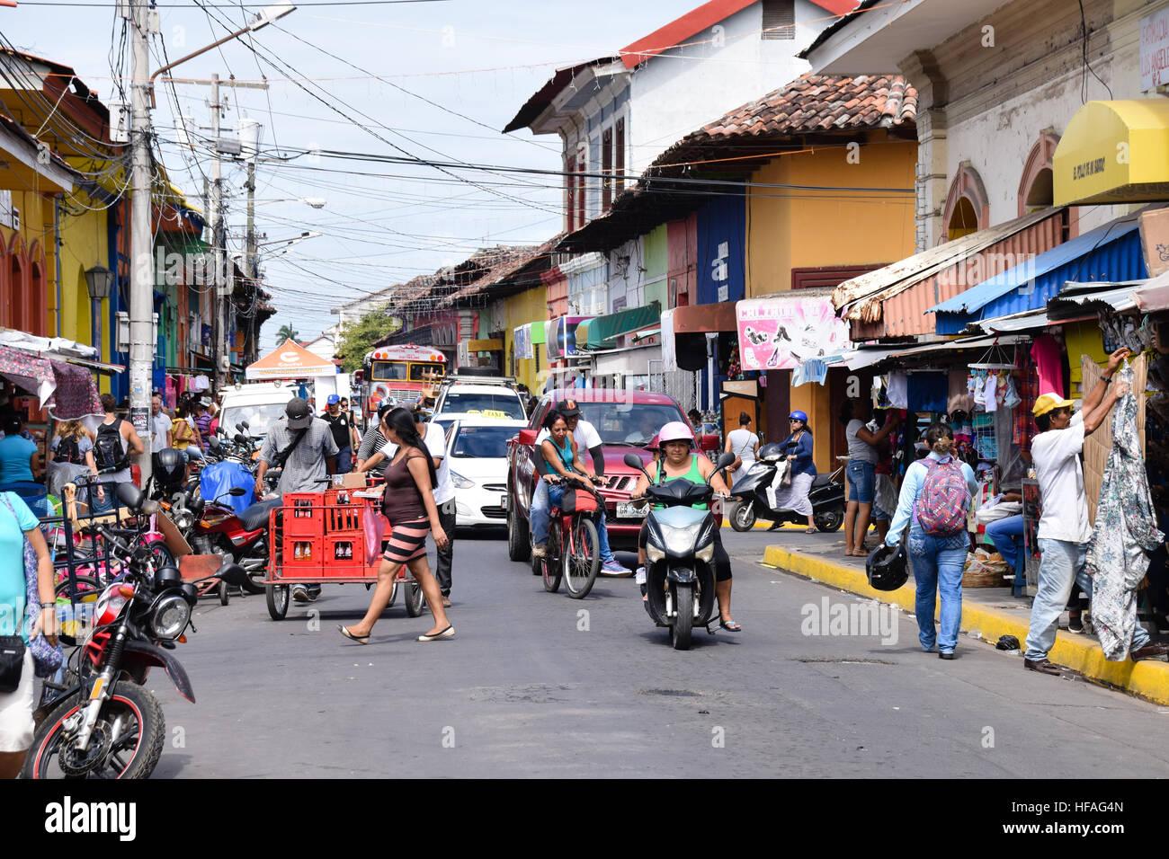 Busy street scene in Granada, Nicaragua Stock Photo