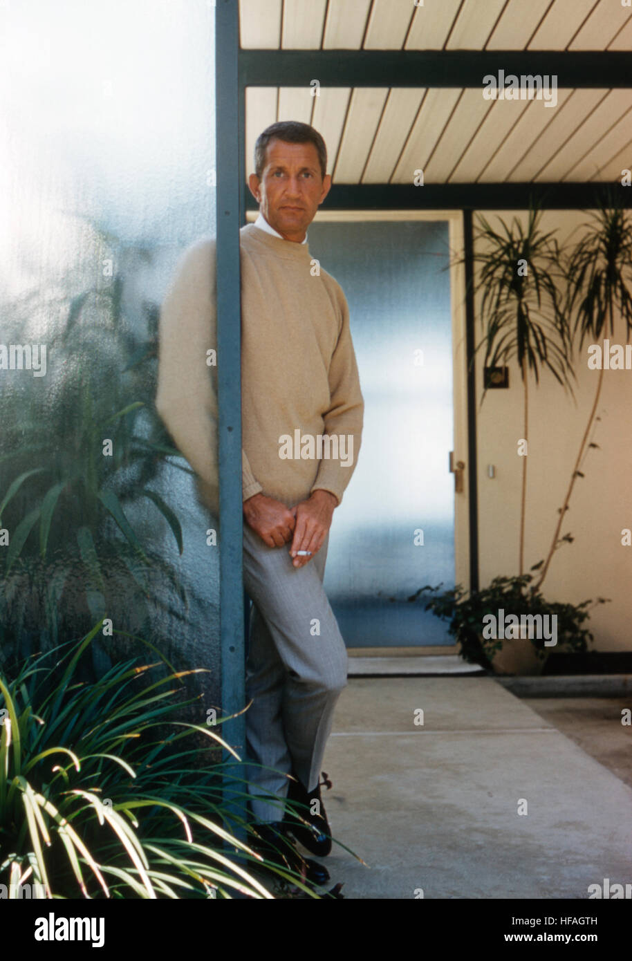 Architect Craig Ellwood, on site in 1961 at Case Study House Number 18, which he designed. Located in Beverly Hills, - Stock Image